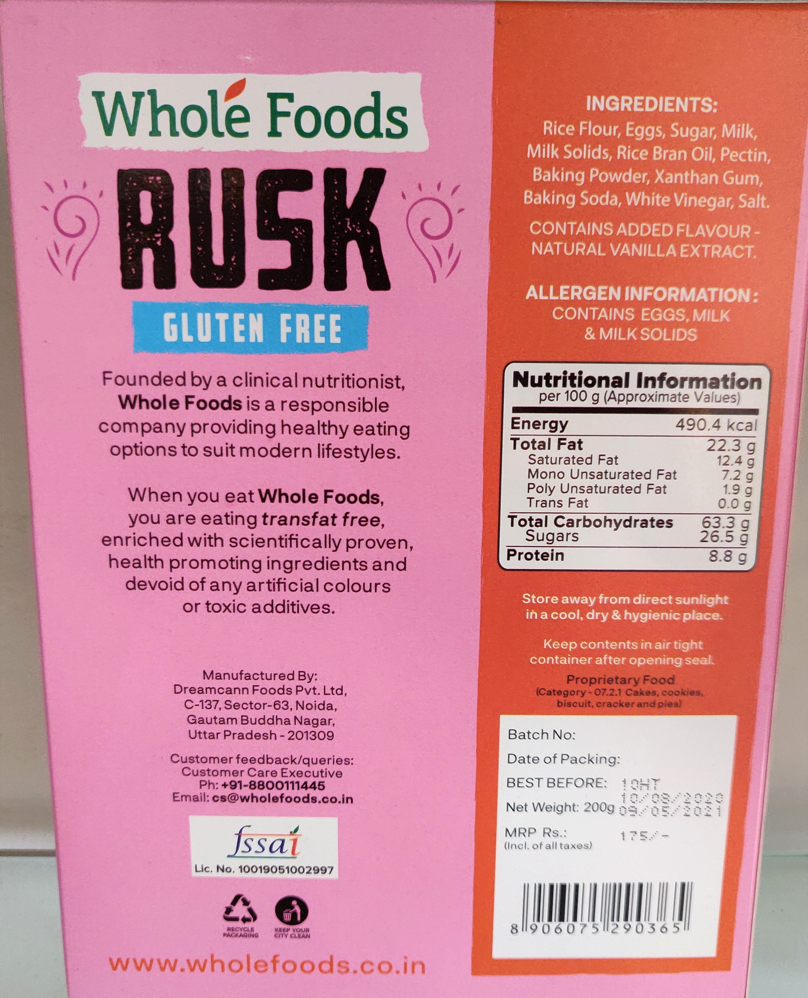 Whole Foods Rusk(with Egg) - Gluten Free