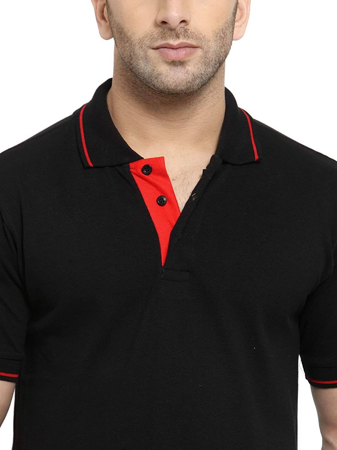 Men's Black Colour With Tipping Cotton Polo T-Shirt (L-42)