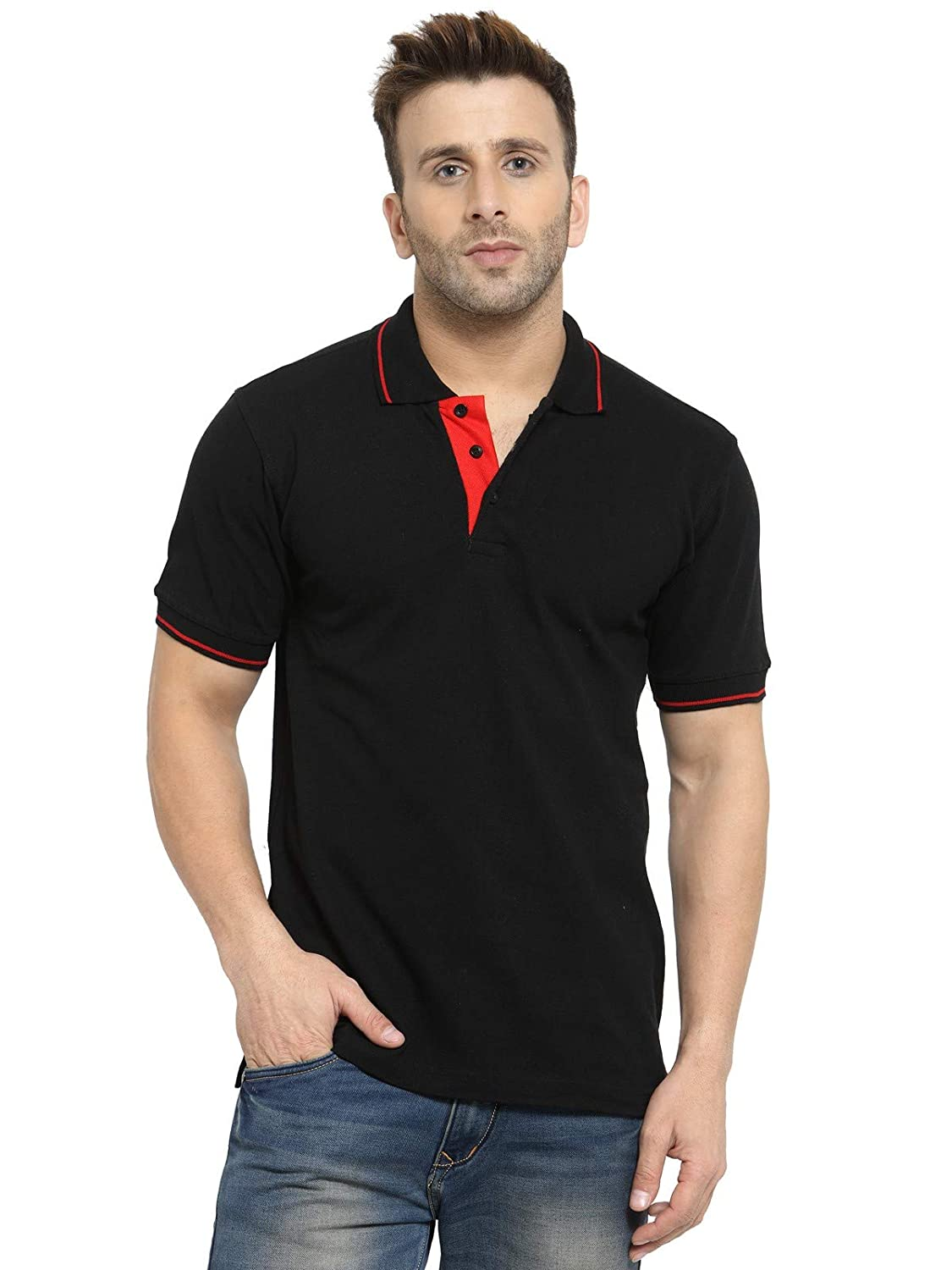 Men's Black Colour With Tipping Cotton Polo T-Shirt (XL-44)