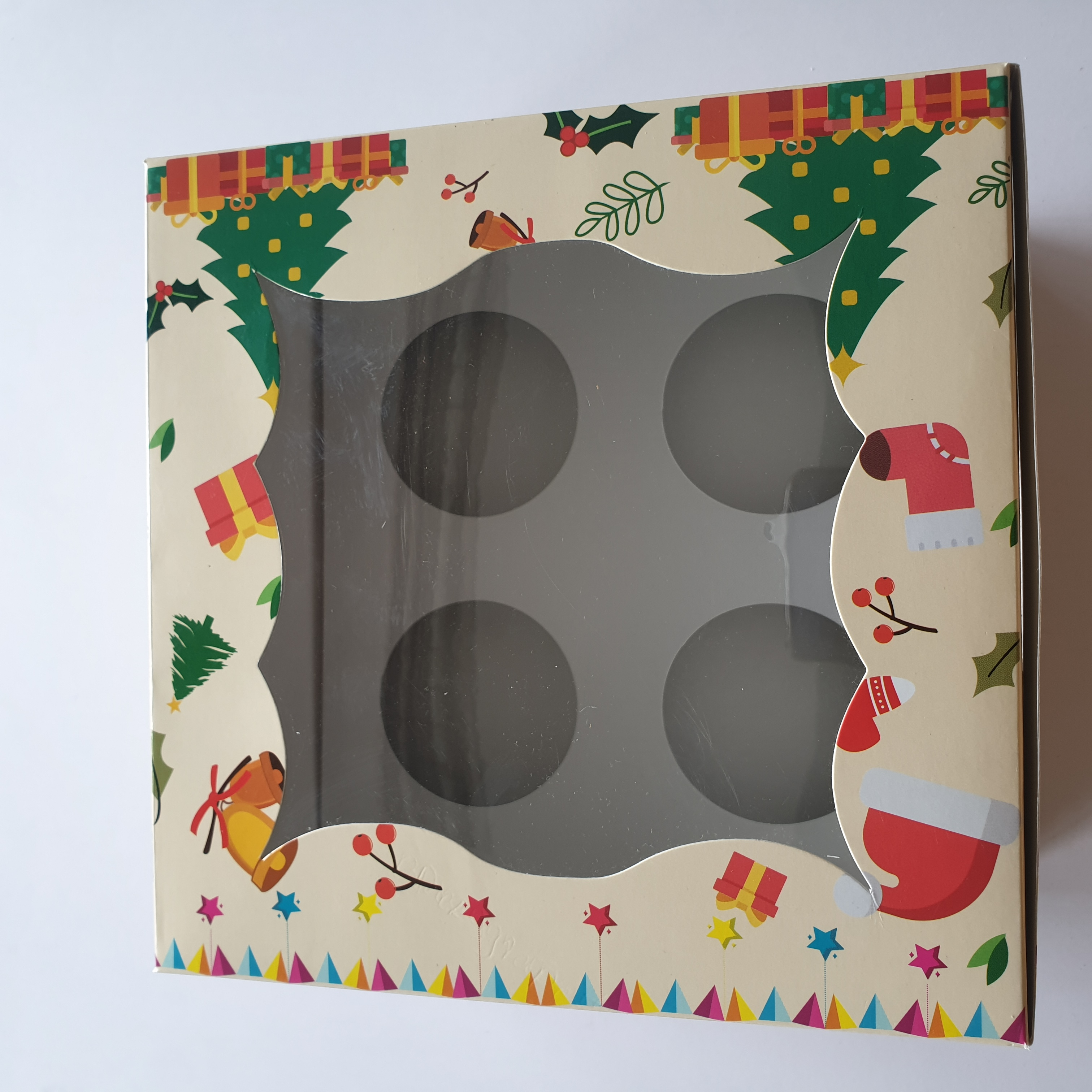 Christmas Cup Cake Paper Box Four Insert