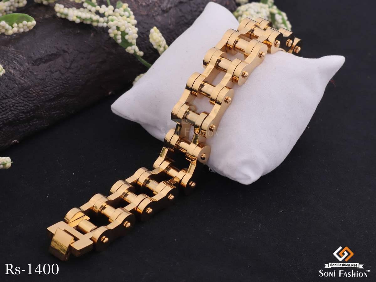 Motorcycle Chain Design Golden Bracelet