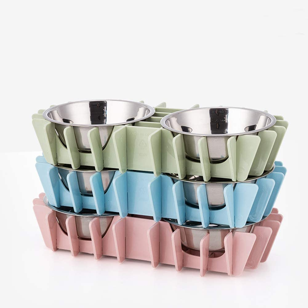 Pets Empire Pet Assemble Bowl Stainless Steel Cat Dog Double Bowls Puppy Drinking Water Feeding Food Bowl Dishes Non-Slip Pets Feeder 2 X 350 ML (BLUE)