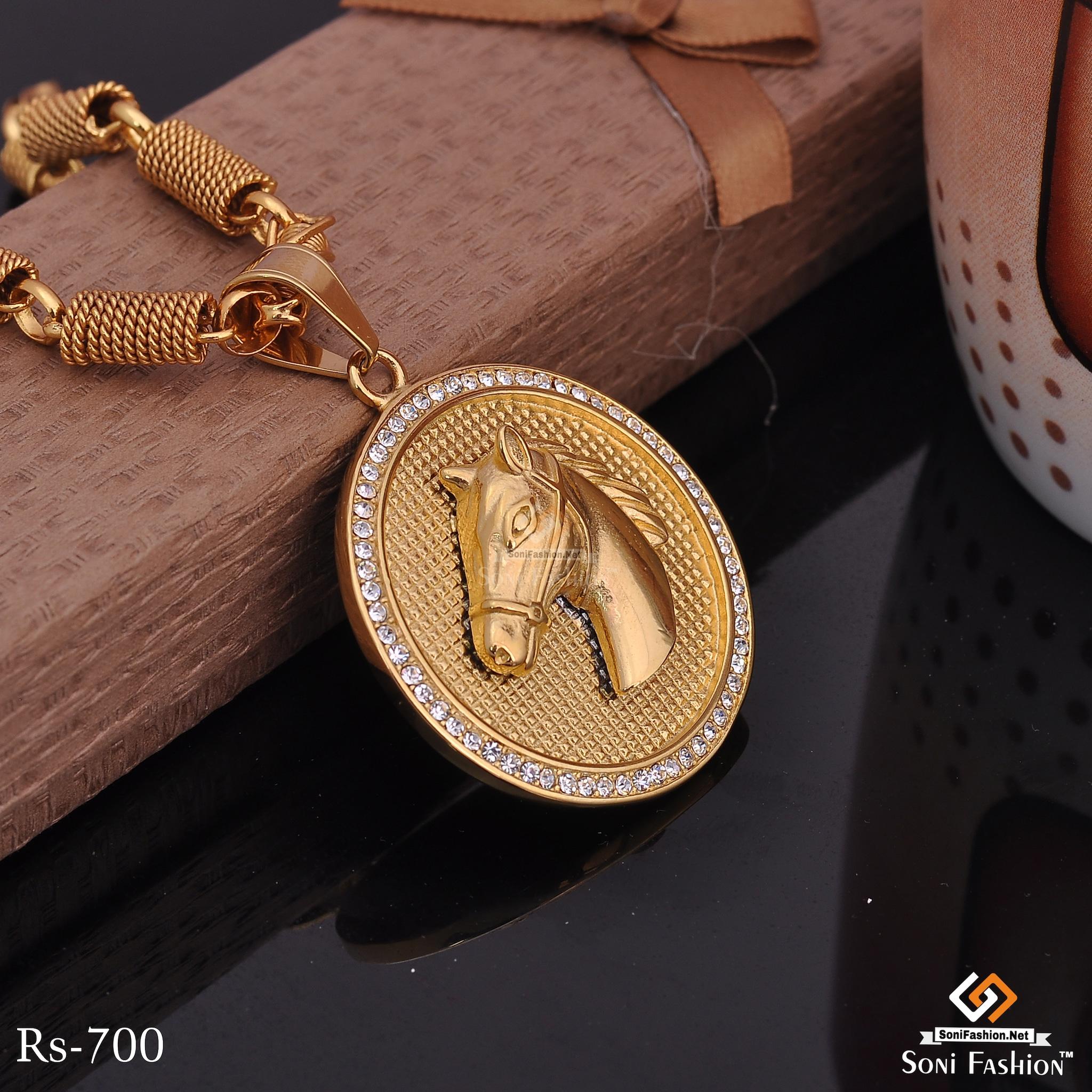 Horse Face In Circle Golden Diamond Pendent