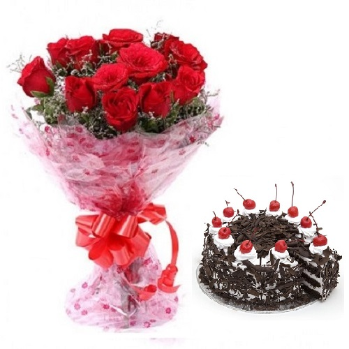 Fresh Flower Bouquet (Bunch Of 10 Red Roses) - FF2021CO103 (Evening (03PM, 06PM), Add 500gm Black Forest Cake)