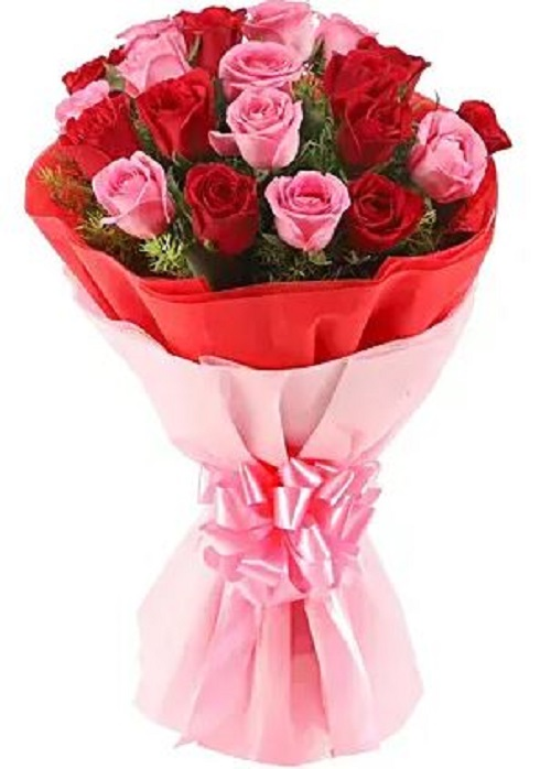 Fresh Flower Bouquet (Bunch Of 20 Red & Pink Roses) - FF2021CO123 (Mid-Night (11PM, 00AM), No Upgrade)