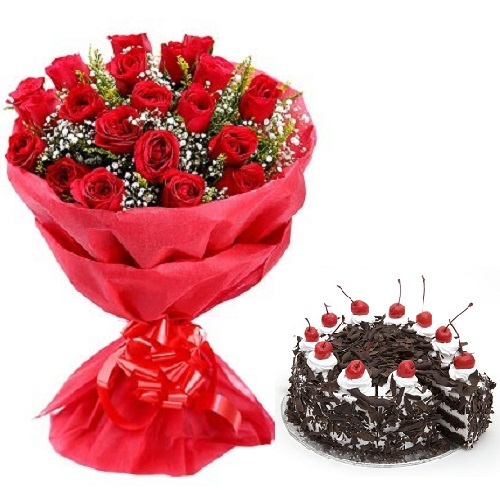 Fresh Flower Bouquet (Bunch Of 15 Red Roses) - FF2021CO118 (Mid-Night (11PM, 00AM), Add 500gm Black Forest Cake)