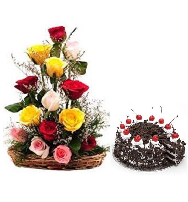 Fresh Flower Bouquet Arrangement (15 Mix Roses) - FF2021CO112 (Morning (09AM, 12PM), Add 500gm Black Forest Cake)