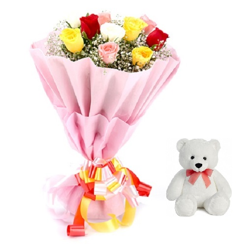 """Fresh Flower Bouquet (Bunch Of 10 Mix Roses) - FF2021CO108 (Afternoon (12PM, 03PM), Add 6"""" Teddy)"""