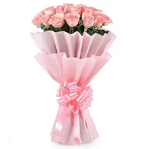 Fresh Flower Bouquet (Bunch Of 10 Pink Roses) - FF2021CO109 (Evening (03PM, 06PM), No Upgrade)