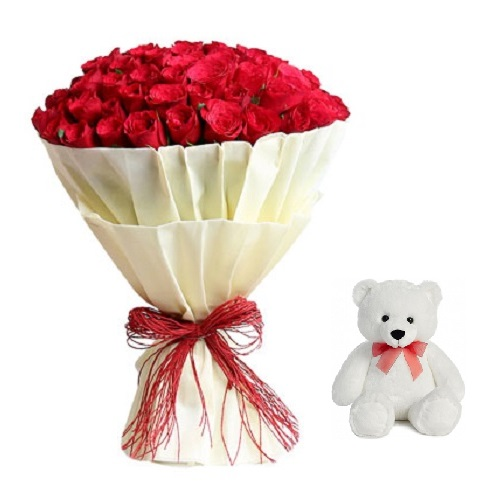 """Fresh Flower Bouquet (Bunch Of 30 Red Roses) - FF2021CO119 (Evening (03PM, 06PM), Add 6"""" Teddy)"""
