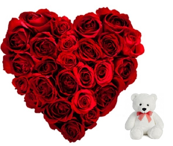 """Fresh Flower Bouquet Heart Shape (30 Red Roses) - FF2021CO107 (Afternoon (12PM, 03PM), Add 6"""" Teddy)"""