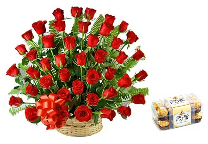 Fresh Flower Basket Arrangement (50 Red Roses) - FF2021CO121 (Evening (03PM, 06PM), Add 16 Pc. Ferrero Rocher Box)