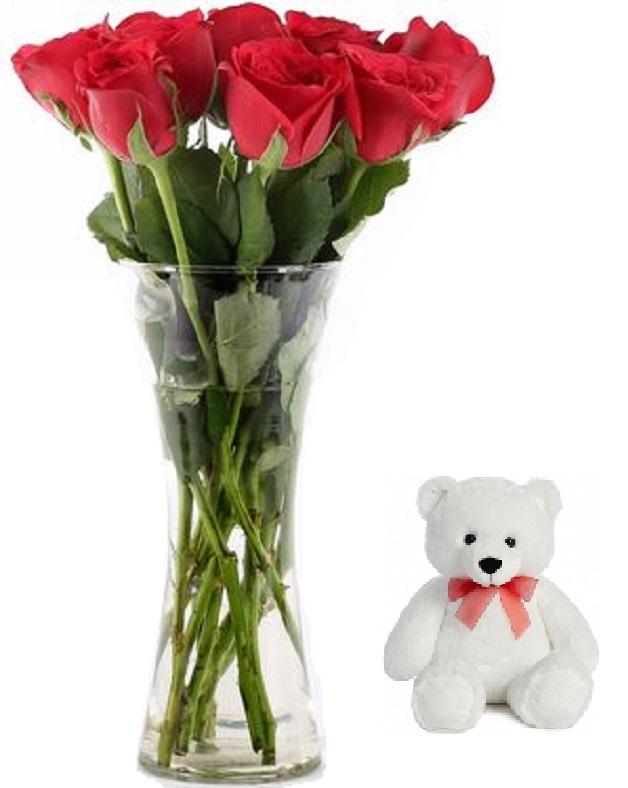 "Fresh Flower Glass Vase Arrangement (10 Red Roses) - FF2021CO127 (Morning (09AM, 12PM), Add 6"" Teddy)"