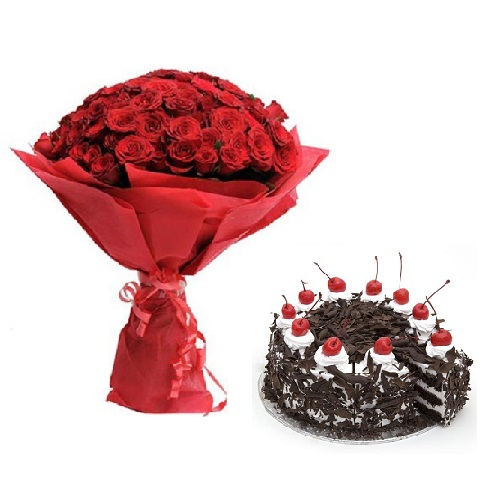 Fresh Flower Bouquet (Bunch Of 40 Red Roses) - FF2021CO120 (Afternoon (12PM, 03PM), Add 500gm Black Forest Cake)
