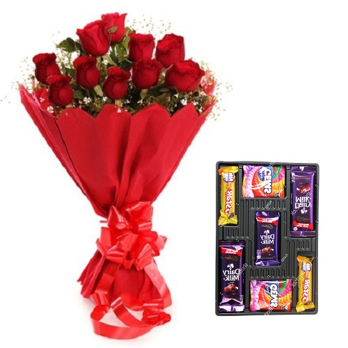 Fresh Flower Bouquet (Bunch Of 15 Red Roses) - FF2021CO104 (Evening (03PM, 06PM), Add 7 Pc. Assorted Chocolate)