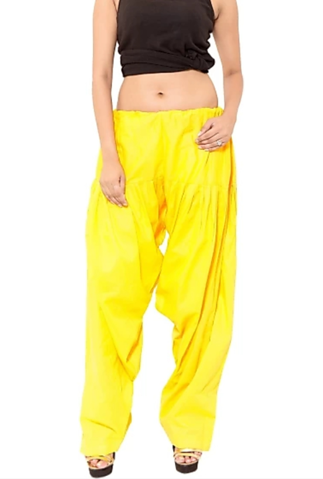 Samridhi Collection Cotton Yellow Patiala...