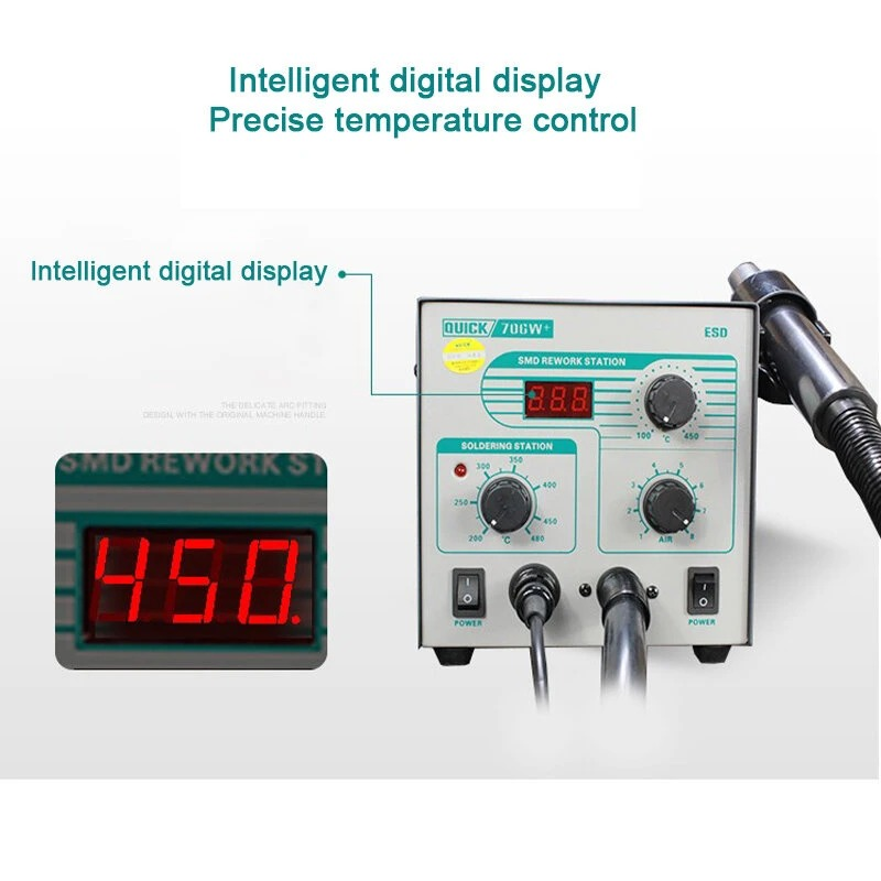 New Quick 706W+ 2 In 1 SMD Rework Station (Lead-free Soldering Iron Desoldering Station)