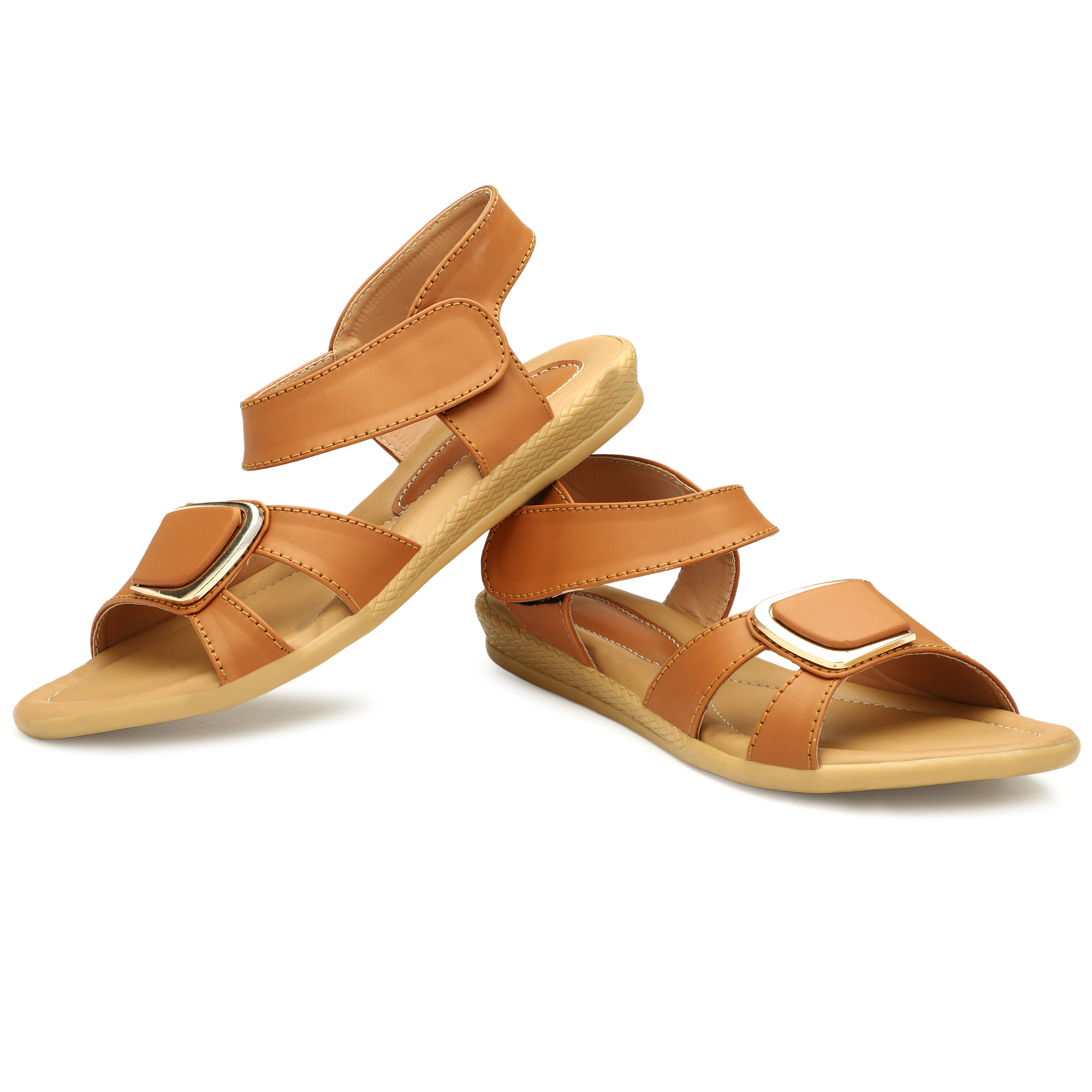 GENNEXTWOMEN'S SMART STYLISH SLLIPER COMFORTABLE GENNEXT_002 (TAN, 7-10, 8 PAIR)