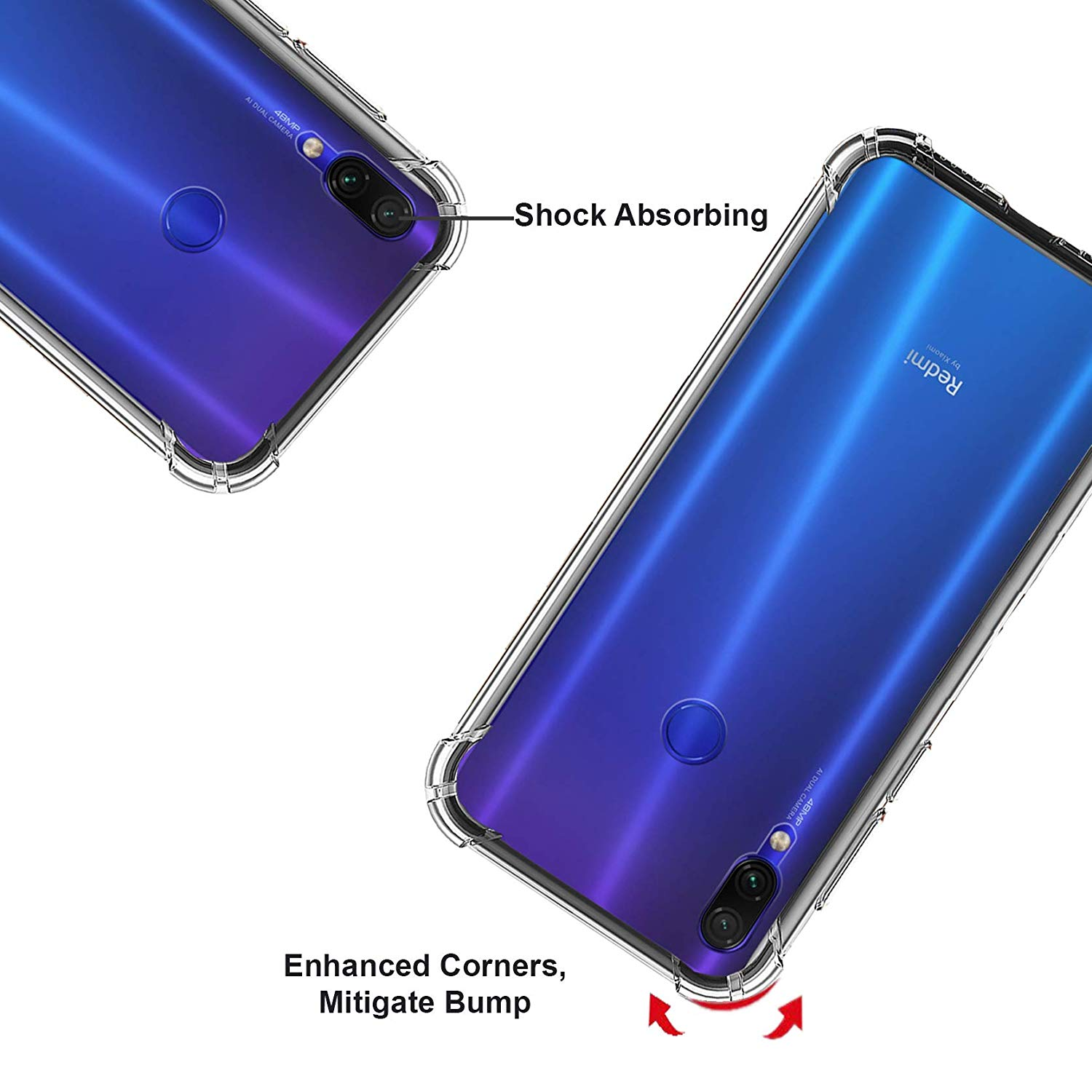 Mi Note 7 Pro/Note 7  Transparent Case  Back Cover, Transparent Anti Scratch Soft Case With Ultimate Protection From Drops, Bac