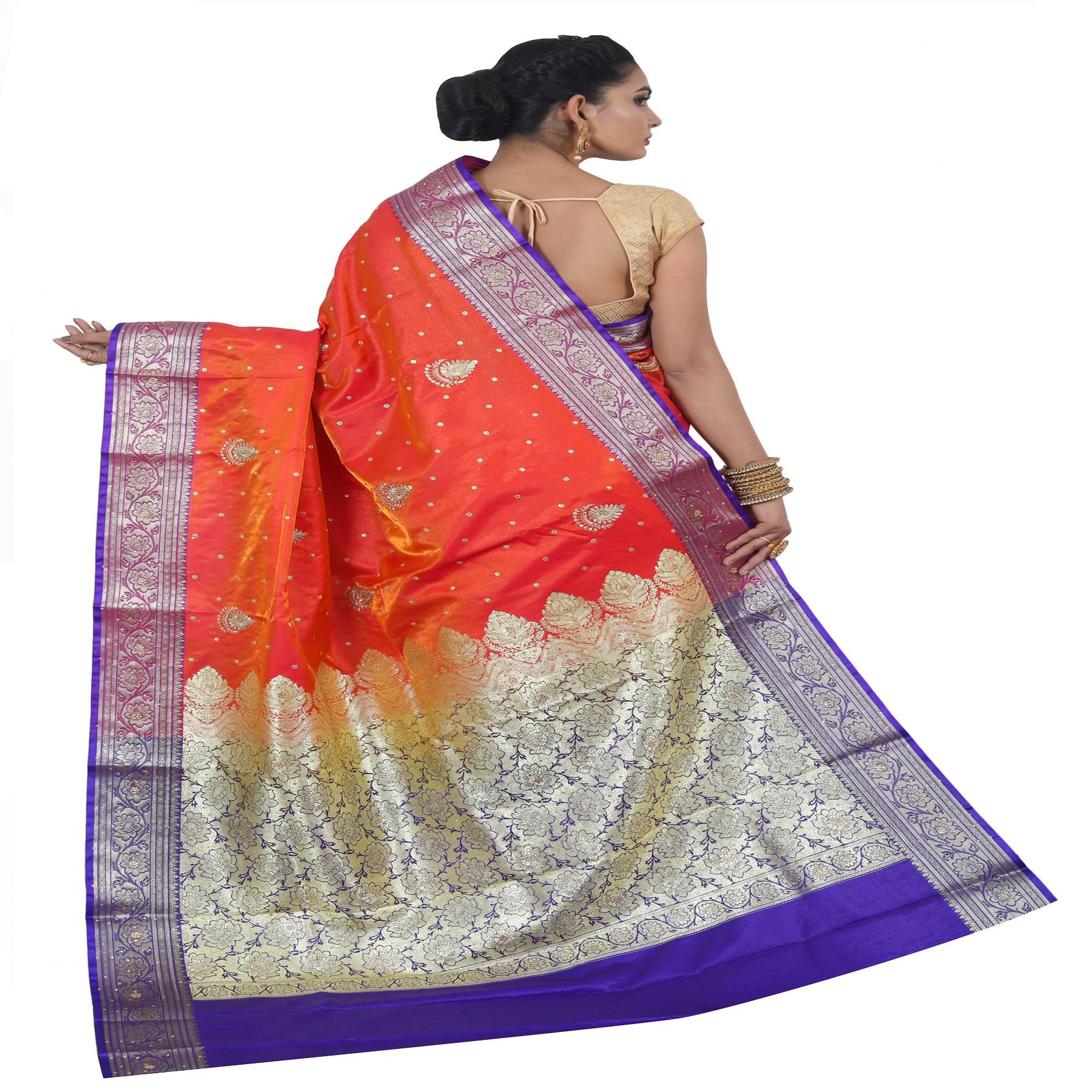 Kamila Creation Embroidered Banarasi Silk Blend Saree