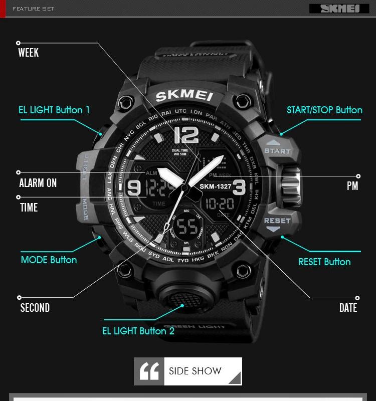 SKMEI Men Watches Military Sports Watch Men Top Brand Luxury SKMEI Men's Quartz Digital Casual Outdoor Wrist Watch