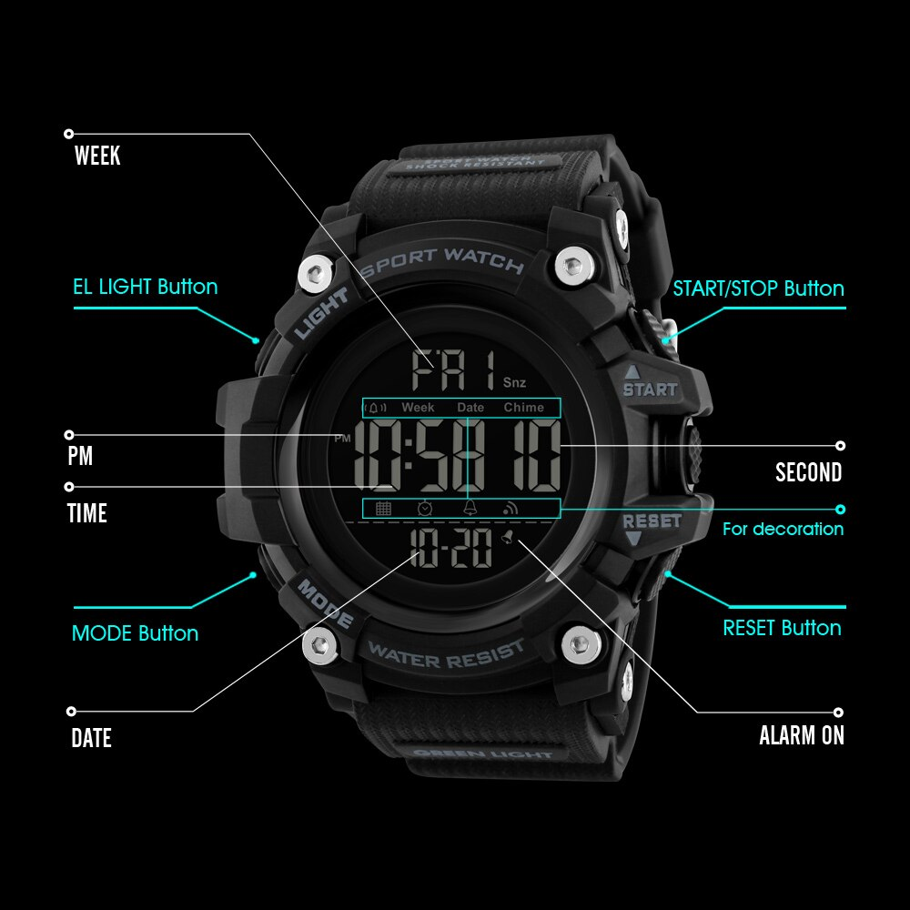 SKMEI Brand New Mens Watches Fashion Casual LED Digital Outdoor Sports Watch Men Multifunction Waterproof Wrist Watches
