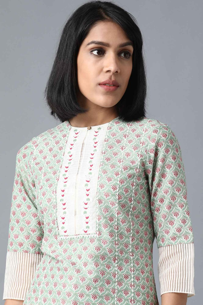 Green Round Neck Printed Kurta (18,Green)