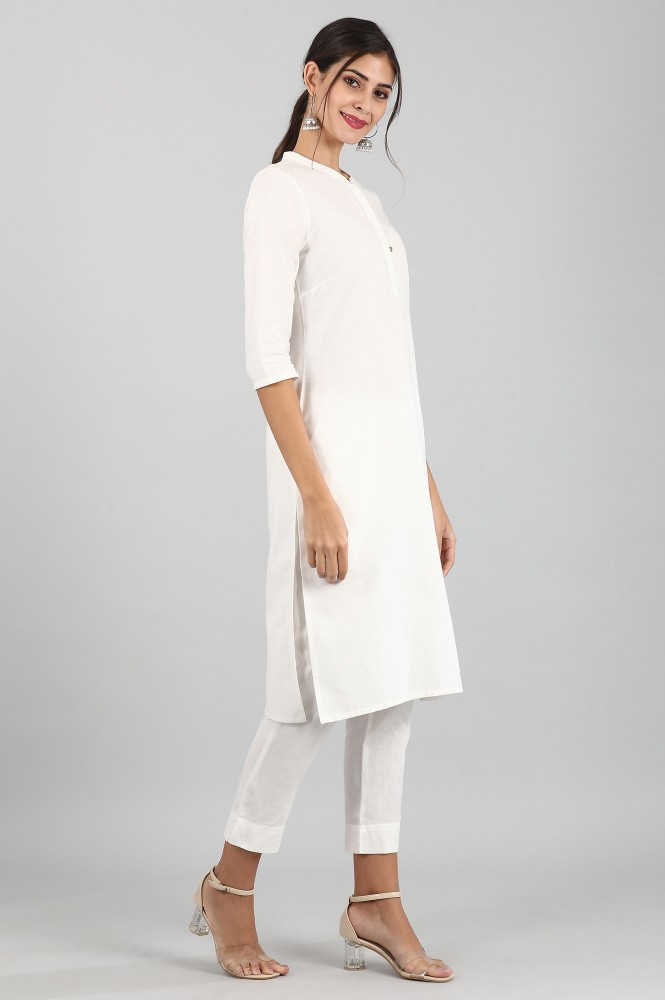 Round Neck Solid Kurta (XS,White)