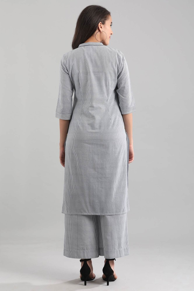 Blue Band Collar Striped Kurta (XL,Blue)