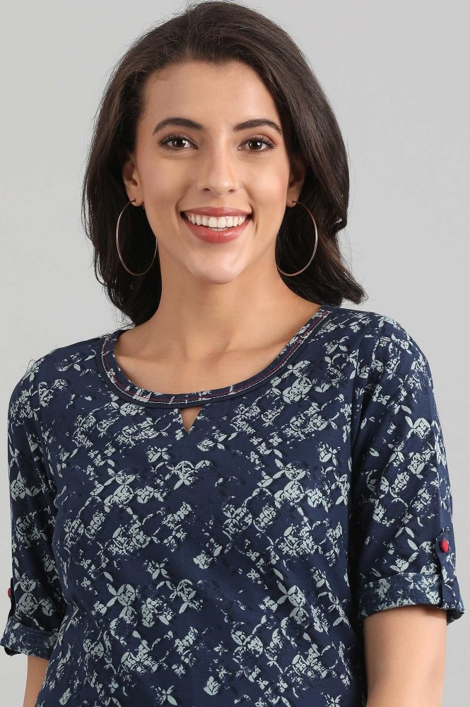 Blue Round Neck Printed Kurta (2XL,Blue)