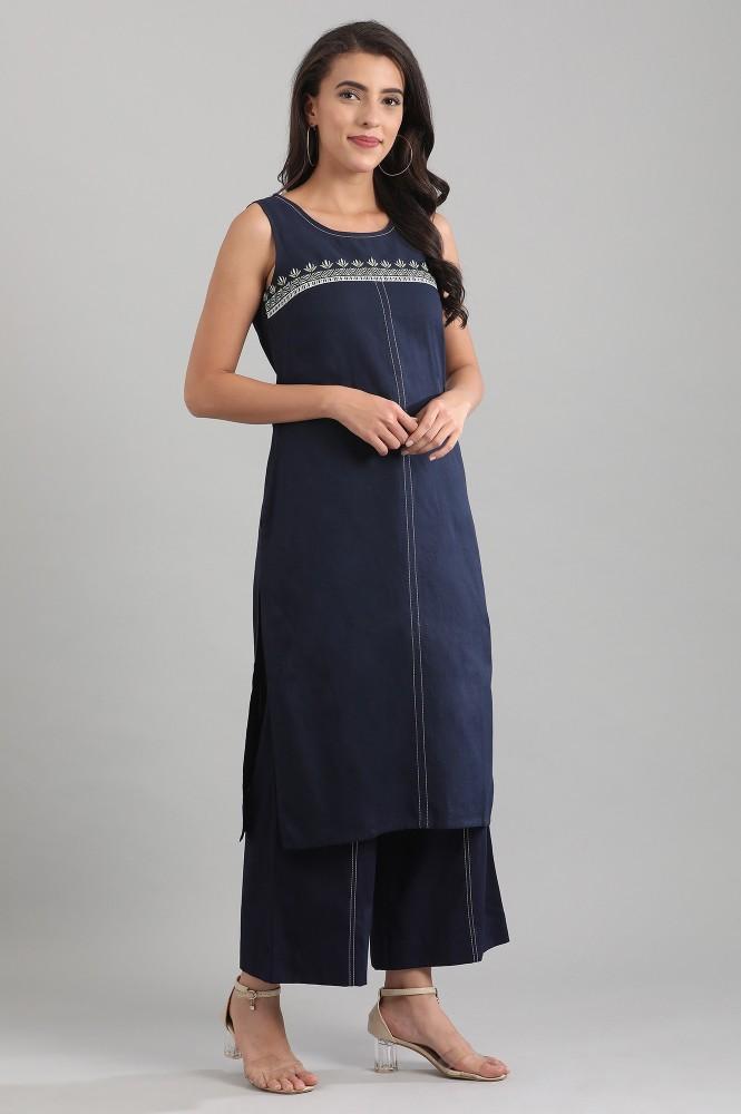 Navy Blue Round Neck Yarn-dyed Kurta (M,Navy Blue)