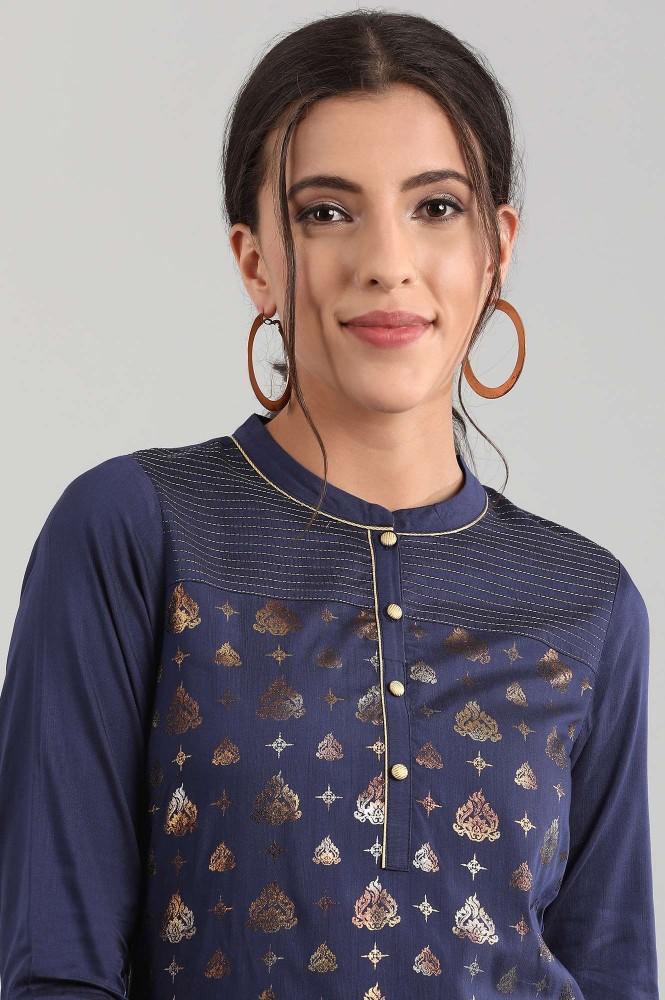 Blue Band Collar Printed Kurta (S,Blue)