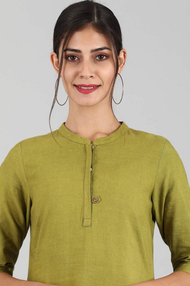 Round Neck Solid Kurta (2XL,Green)
