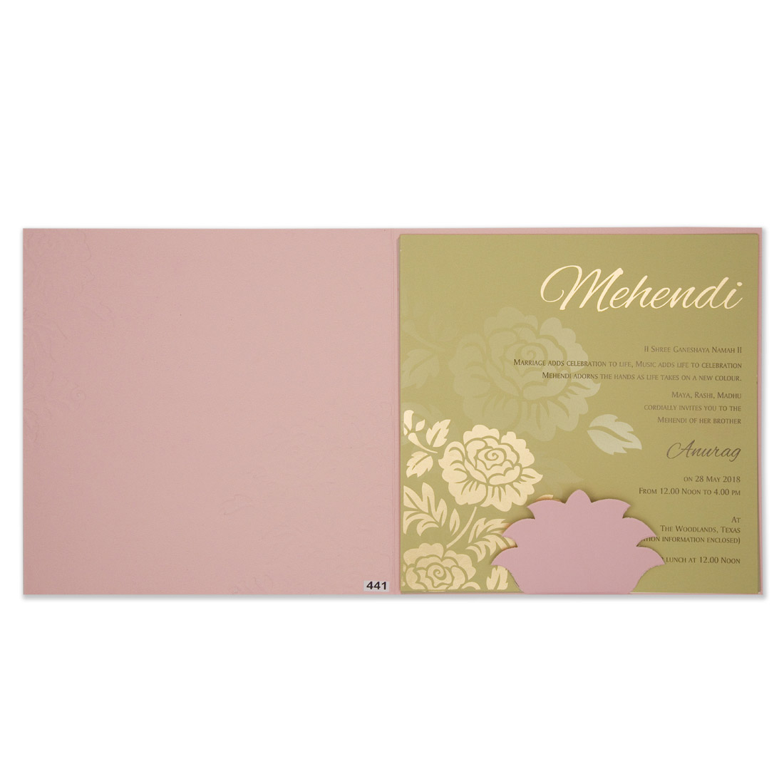 Floral Embosed Wedding Cards (Pink)
