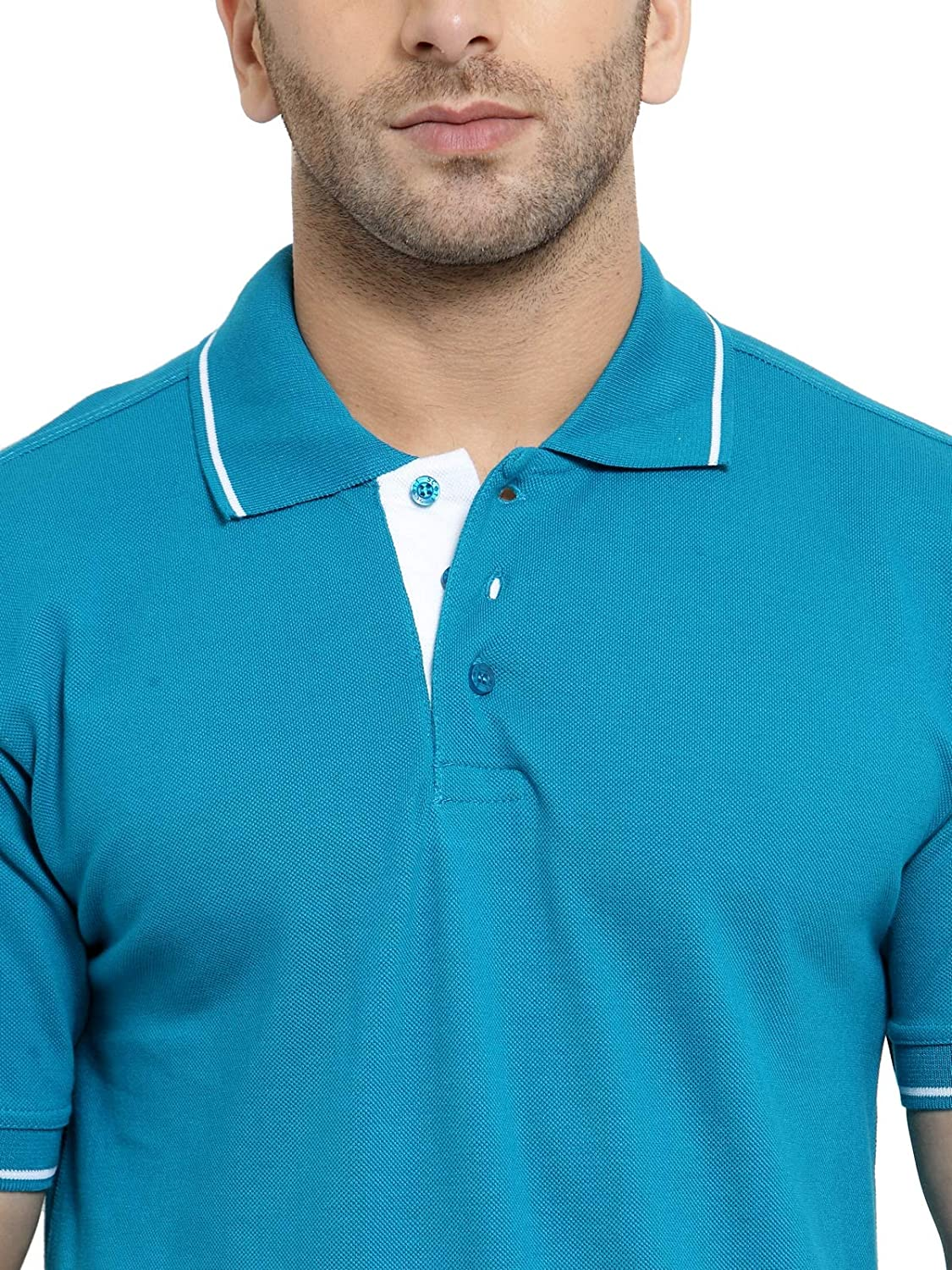 Men's Cotton Turquoise Green With White Tipping Polo T-Shirt (M-40)