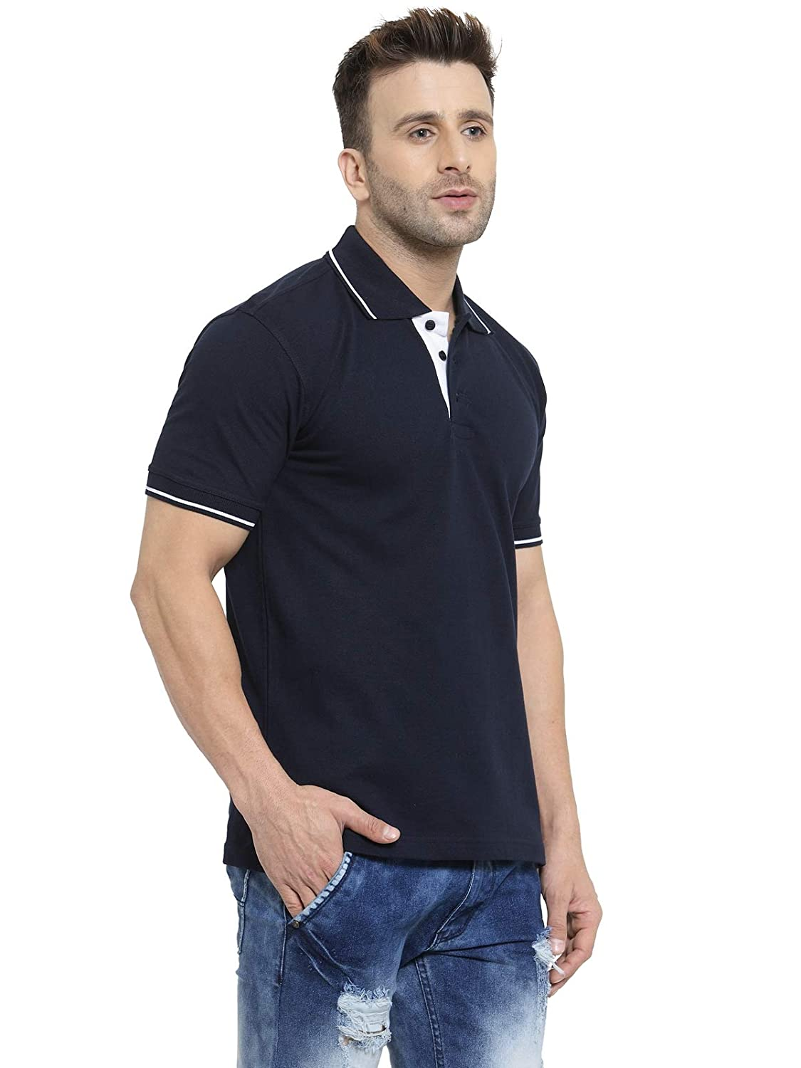 Men's Navy Blue With White Tipping Cotton Polo T-Shirt (XXL-46)
