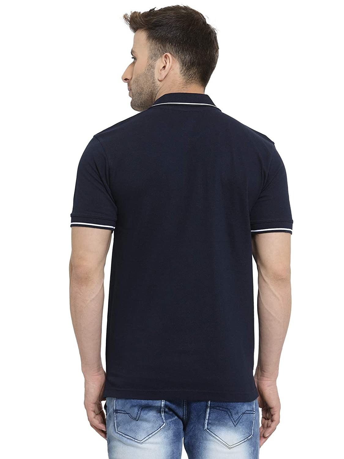 Men's Navy Blue With White Tipping Cotton Polo T-Shirt (L-42)