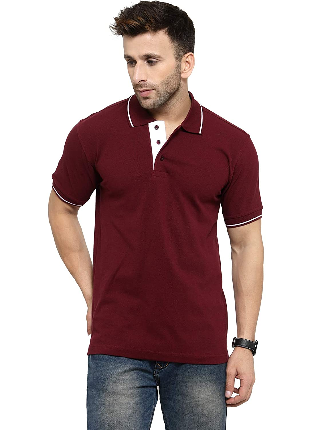 Men's Maroon With White Tipping Cotton Polo T-Shirt (L-42)