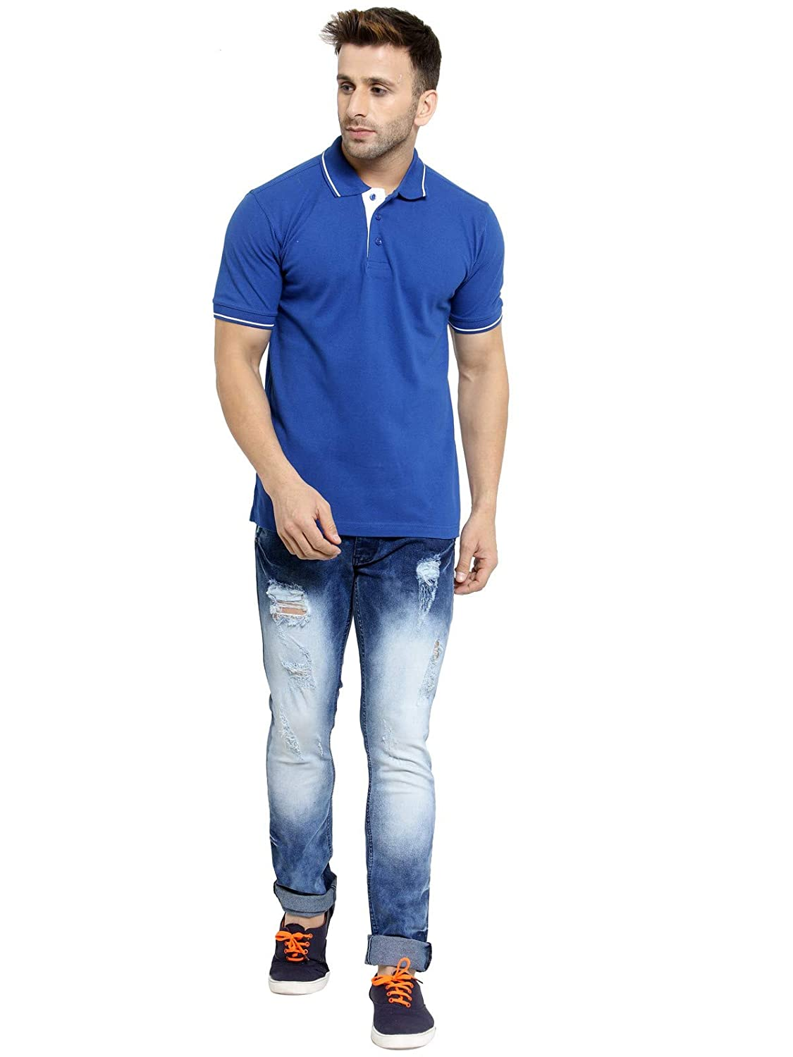 Men's Royal Blue With White Tipping Cotton Polo T-Shirt (S-38)