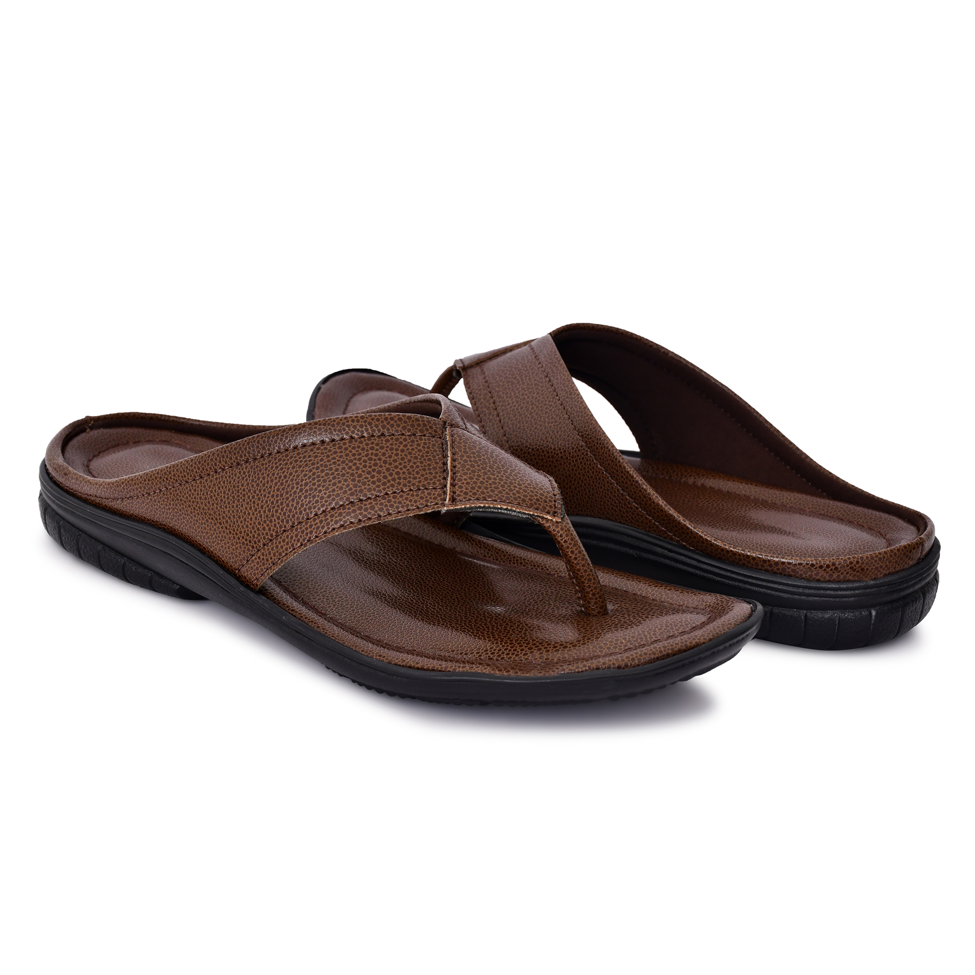 Almighty Synthetic Leather Brown Slipper STRZ1SLBROWN (BROWN, 6-10, 8 PAIRS)