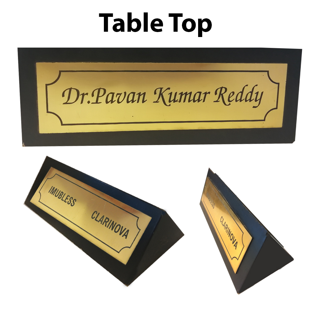 Personalized Wooden Triangular Table Name Tops With Laser Engraving/Black Name Plate