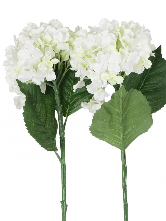 POLYESTER FABRIC AND PLASTIC ARTIFICIAL HYDRANGEA FLOWER STICKS (10 CM X 10 CM X 75 CM, WHITE, SET OF 2) MSF74