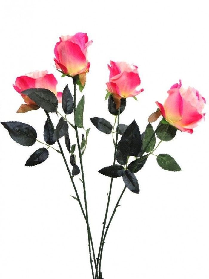 ARTIFICIAL SYNTHETIC SINGLE OPEN ROSE (45 CM, SET OF 4, PINK) MSF14