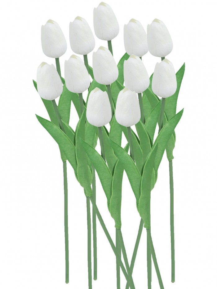 ARTIFICIAL DECORATIVE REAL TOUCH MINI TULIP FLOWER STICKS (33 CM, WHITE, SET OF 12) MSF8