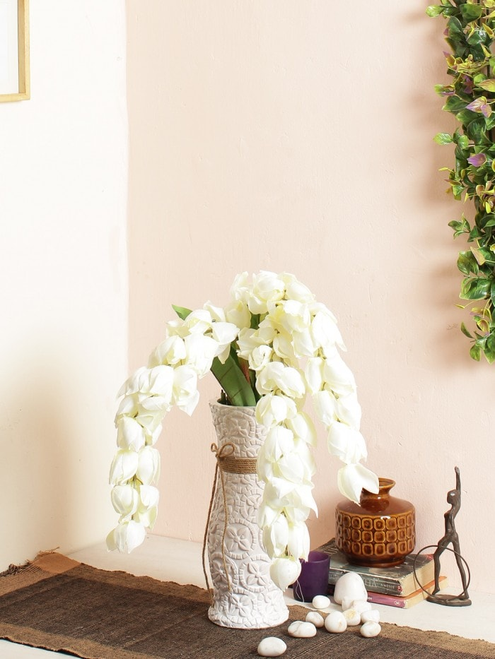 ARTIFICIAL HANGING FLOWER STICKS (120 CM TALL, WHITE, SET OF 3) MSF71