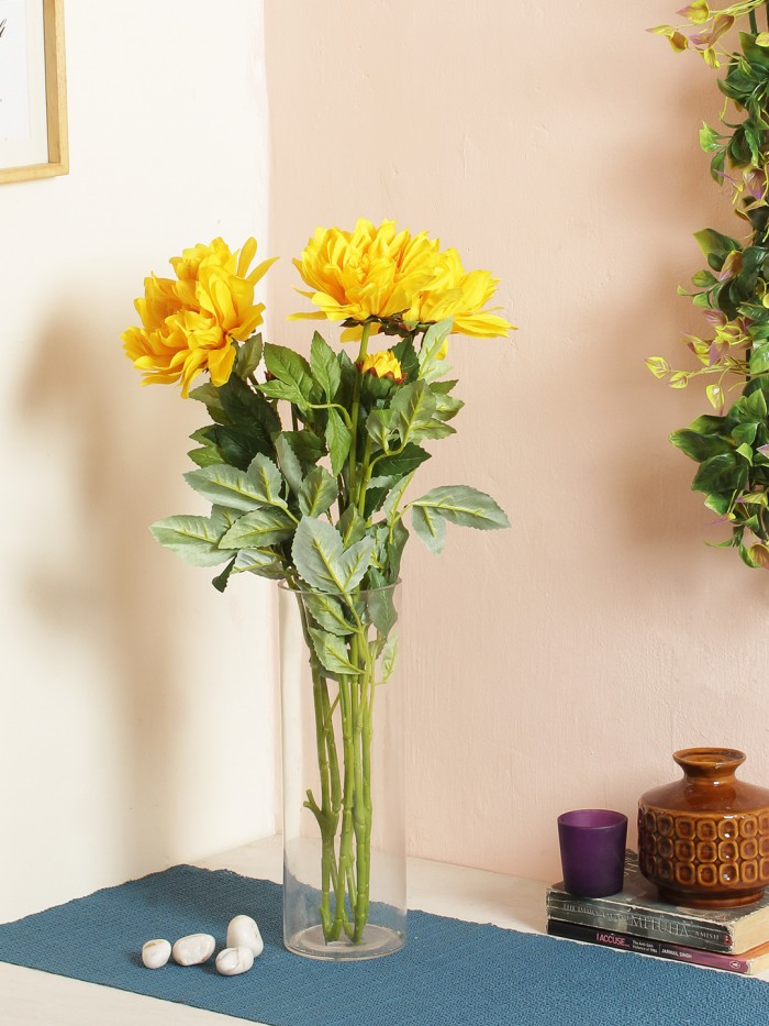 DECORATIVE ARTIFICIAL DEHELIA FLOWER WITH BUD STICKS (3 HEAD, 95 CM TALL, YELLOW) MSF33