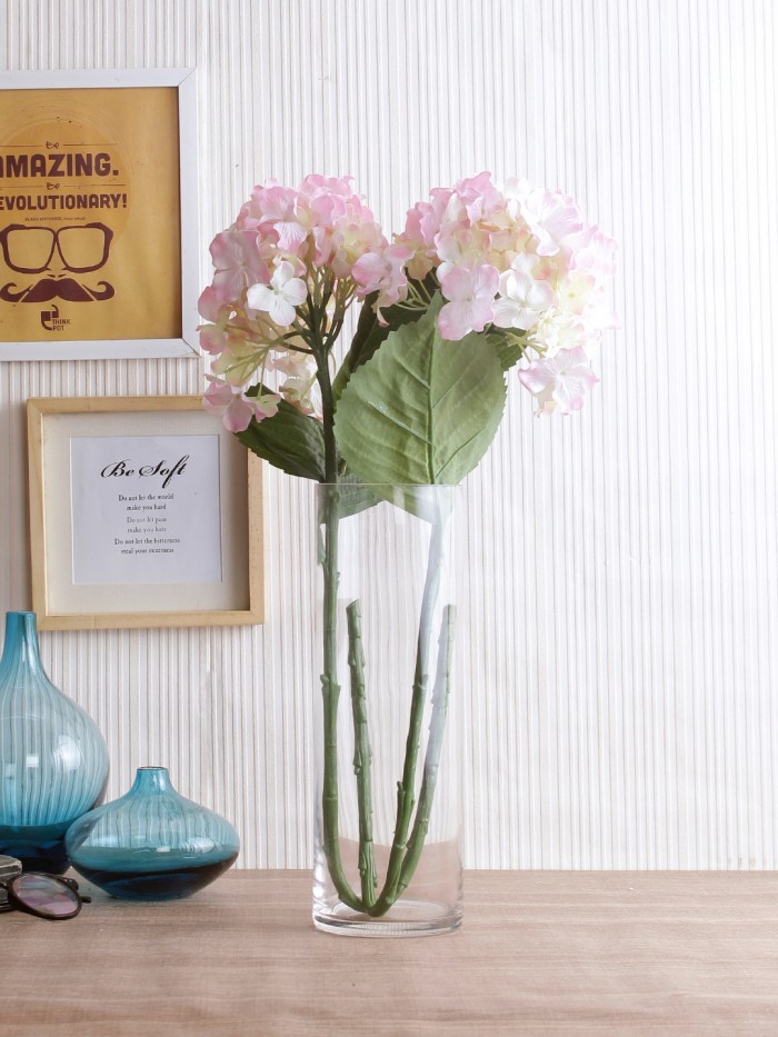 POLYESTER FABRIC AND PLASTIC ARTIFICIAL HYDRANGEA FLOWER STICKS (10 CM X 10 CM X 75 CM, LIGHT/PINK, SET OF 2) MSF73