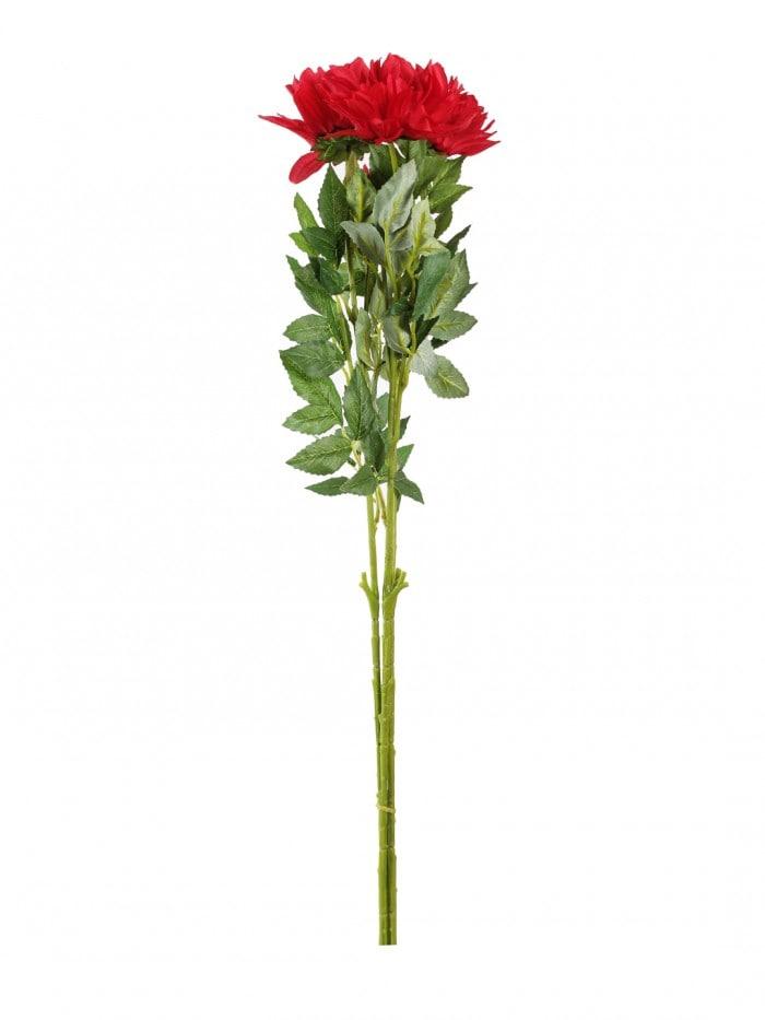 DECORATIVE ARTIFICIAL DEHELIA FLOWER WITH BUD STICKS (3 HEAD, 95 CM TALL, RED) MSF35