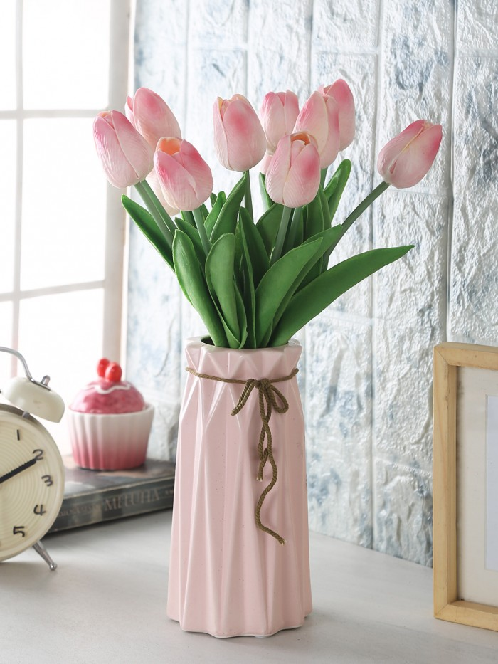 ARTIFICIAL DECORATIVE REAL TOUCH MINI TULIP FLOWER STICKS (33 CM, PINK, SET OF 12) MSF7