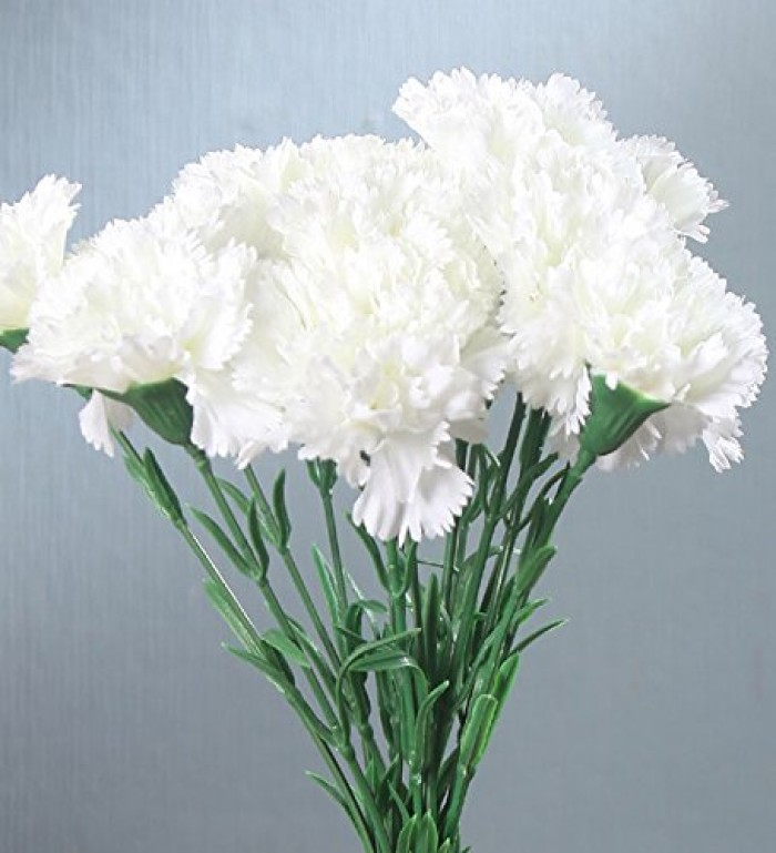 FOURWALLS ARTIFICIAL SYNTHETIC SINGLE CARNATION FLOWER STICK (45 CM TALL, SET OF 15, WHITE) MSF22